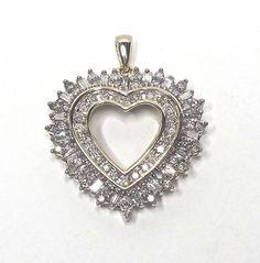 Estate Diamond Heart Pendant 1.25CTW 14KT Yellow Gold Cluster Open GV100204 #Unbranded #Pendant