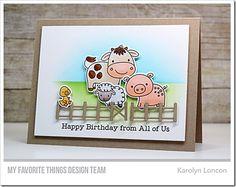 Animal Farm Stamp Set and Die-namics, Animal Farm Fence Die-namics - Karolyn Loncon  #mftstamps