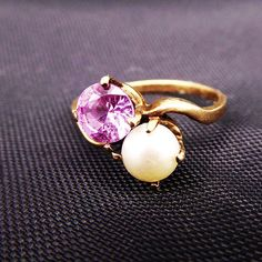 Late Art Deco 10K Gold Pink Sapphire & Pearl Ring Size 5 | Etsy Jewelry Supplies, Jewelry Stores, Etsy Jewelry, Clip On Earrings, Stud Earrings, Sweet Ring, Photographing Jewelry, Imitation Jewelry, Gold Filled Jewelry