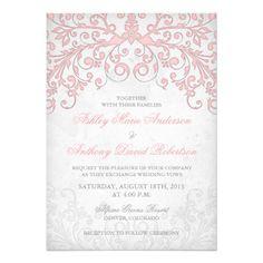 pink and grey wedding ideas | Vintage Blush Pink Grey Floral Wedding Invitation from Zazzle.com