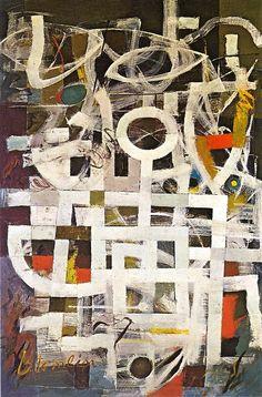 Bradley Walker Tomlin, 1899 - 1955. Fue un pintor estadounidense. Estudió pintura en Londres y en 1923 se trasladó a París, donde recibió la influencia del trabajo de los postimpresionistas, y sobre todo de Picasso y Braque. En 1936 su estilo se modificó en contacto con el dadaísmo y el surrealismo. Posteriormente se decantó por la pintura abstracta y recibió la influencia de Gottlieb y Pollock.  También realizó trabajos para la portada de revistas como Vogue y House and garden.