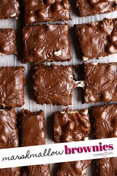 Marshmallow Brownies, Marshmallow Desserts, Brownie Desserts, Recipes With Marshmallows, Homemade Brownies, Homemade Chocolate, Just Desserts, Delicious Desserts, Dessert Recipes