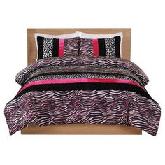 Cosmo Woman Pink Zebra Leopard Stripe Comforter Set. >> Learn more by checking out the picture link