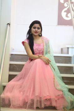 Stunning blush pink color lehenga and blouse with sea green color net dupatta. Simple Anarkali, Long Dress Design, Elegant Designs, Floor Length Dresses, Saree Dress, Baby Dresses, Anarkali Suits, Indian Designer Wear, Indian Bridal