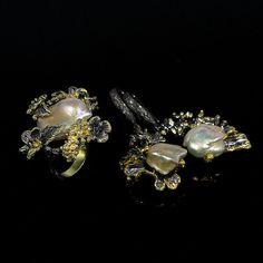 Handmade Set Natural Baroque Pearl 925 Sterling Silver Ring, Hook Earrings/N5557 #APBJewelry #RingHookEarrings