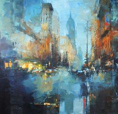 Y - Peinture 2018 par Benoit Havard - Abstract City, City Painting, Art Abstrait, Aboriginal Art, Blue Art, City Art, Colorful Drawings, Geometric Art, Contemporary Paintings