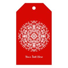 Christmas Red   White Pretty Snowflake Design Gift Tags - red gifts color style cyo diy personalize unique