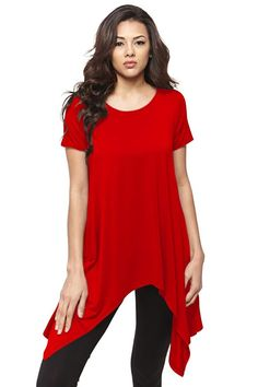 Short Sleeve Handkerchief Hem Tunic Top Loose Fit Tunics for Women - USA * See this great product.