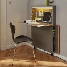 hide away wall desk for small spaces - shouldn't be too hard to diy something like this (instead of paying 1300 EUR :) (bedroom decor for small rooms organization ideas) Home Office Design, Home Office Decor, Diy Home Decor, Office Ideas, Office Designs, Small Office Furniture, Space Saving Furniture, Hidden Desk, Desks For Small Spaces