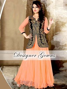 Stunning gown is comes with black color jacket with zari thread work. Item Code: GTF3016 http://www.bharatplaza.com/new-arrivals/gowns.html