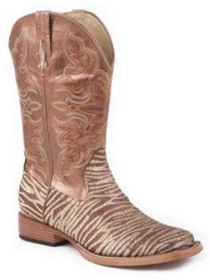 15b7b000de4 Roper Glitter Zebra Boot Brown Ladies Cowboy Boots Women