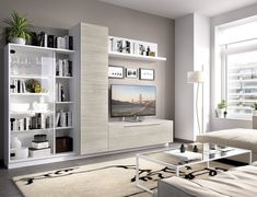 Contemporary wall TV unit with cabinet and shelving unit in grey wood and white Living Room Partition, Tv Storage, Grey Wood, Tv Unit, Small Apartments, Modern Wall, Living Room Designs, Decoration, Shelving