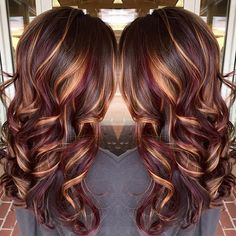 nice Brunette hair color with burnished blonde highlights Curly long brunette hair ho...