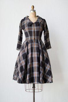 Classic 1950s black and tan wool plaid school girl style dress.