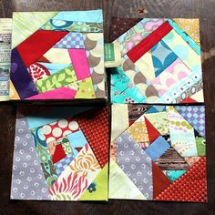 Crazy Quilt Blocks-We are going to make crazy quilt blocks, foundation pieced on paper. The paper will stabilize those stretchy edges for us. We'll make 5″ squares that you then can use as you would any charm pack.