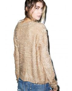 turntable fluffy knit sweater   Dolls Kill