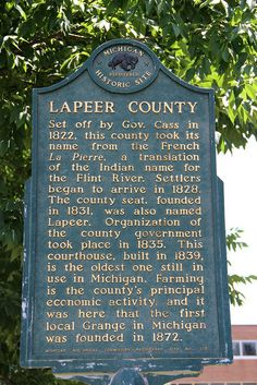 Lapeer County Historical Marker