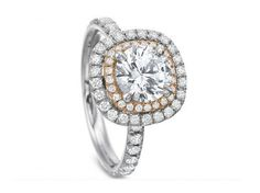18K white gold and 18K rose gold halo diamond engagement ring by Precision Set #igorman #precisionset