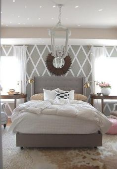 Add yellow, coral, and teal for splashes of color! Master Bedroom Inspiration  