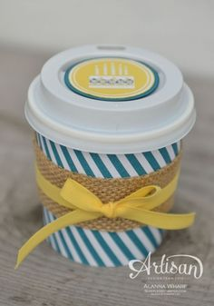 adorable altered coffee cups Stampin' Up! Paper Cup Crafts, Diy Arts And Crafts, Paper Cups, Coffee Cup Crafts, Coffee Gifts, Coffee To Go, Sweet Coffee, Coffee Break, Mini Coffee Cups