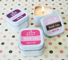 Sweet Sixteen (or 15) Square Candle Tins at CheapFavorShop.com