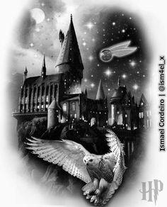 Hogwarts castle | Arte feita em 04 de jan/2018. | #hogwarts #tattoos #harrypotter #harrypottertattoo #edwiges #art