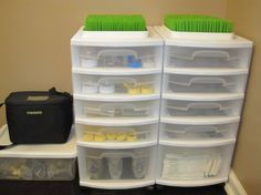 Baby Station Organization for bottle feeding and breast pump supplies...This reminds me of all my storage bins (for bottles, pump supplies) I had when Jeremiah was a baby!