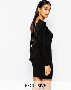 Club L | Club L Cowlback Slinky Mini Dress with Diamond Back Details at ASOS