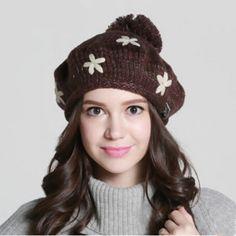 Thick ear beanie knit hat for girls autumn winter flower beret hat