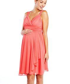 Loving this Coral Ruffle Maternity Sleeveless Surplice Dress on #zulily! #zulilyfinds