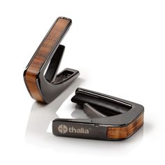 Thalia Guitar Capo with Black Chrome Finish and Figured Hawaiian Koa Inlay. Perfect gift for any guitarist. Over 100 finish and inlay combinations available. Fender Acoustic Guitar, 12 String Acoustic Guitar, Jazz Guitar, Guitar Songs, Fender Guitars, Cool Guitar, Guitar Case, Thalia, Guitar Inlay