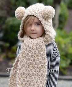 f0a0e3707053d Knitting PATTERN-The Ziyon Hooded Scarf 12 18 months