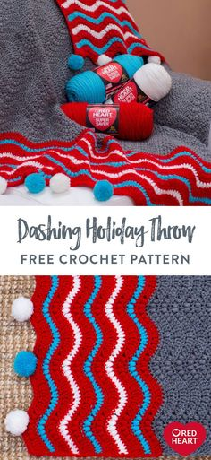 Dashing Holiday Throw free crochet pattern in Red Heart Super Saver. Here's a striking wavy ripple pattern to enjoy all winter long. Whether on the sofa, a cozy chair or in the bedroom, this design combines puff stitches and basic crochet stitches in modern style. Optional pompoms add a festive holiday vibe.