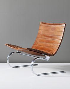 Poul Kjærholm, PK20 lounge chair, cirka 1967. Leather and matt chrome-plated steel. Manufactured by E. Kold Christensen, Denmark. / Phillips