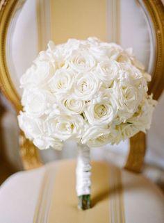 all white rose wedding bouquet; Photographer: Megan Clouse Photography moragdes@hotmail.com