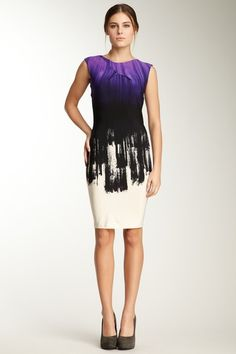 Calvin Klein Ombre Print Ruched Dress by Blowout on @HauteLook