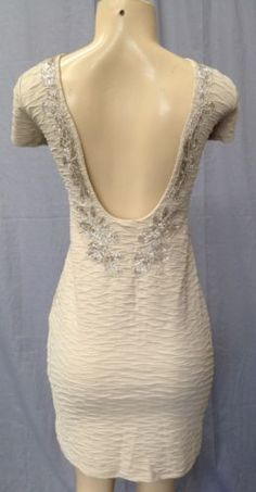 $79 Free People Bringing Sexy Back Dress Beaded M Champagne Combo New NWD Retail 128