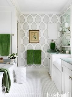 Katie Ridder leaf design wallpaper, large scale, accent wall would be fabulous