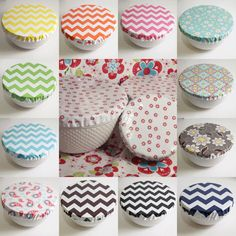 Laminated Cotton Oilcloth Reusable Bowl Covers by compelledtocraft, $24.00