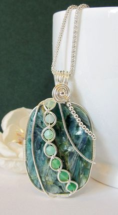 Fine Silver Wire Wrapped Pendant Blue Green by BellaDivaBeads