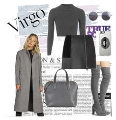 """Virgo Girl"" by tessawarongan on Polyvore featuring Stuart Weitzman, Topshop, Alexander Wang, Valextra, Boohoo, Lipsy, Wood Wood, grey, coat and Virgo"