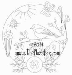 Spring Bluebird Embroidery pattern
