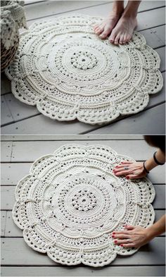 70 Flawless And Adorable Free Crochet Patterns Traditional Floor Rug Free Crochet Pattern Crochet Doily Rug, Crochet Rug Patterns, Crochet Carpet, Crochet Quilt, Crochet Round, Doily Patterns, Tunisian Crochet, Crochet Patterns For Beginners, Crochet Home