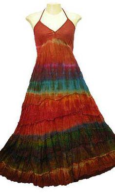 Hippie Tier Halter Tie Dye Long Dress   HIPPIE CLOTHING   80% Sale HIPPIE CLOTHING Now!! on HIPPIEUP.com