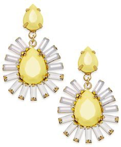 ABS By Allen Schwartz Gold-Tone Yellow Stone and Crystal Drop Earrings - Fashion Earrings - Jewelry & Watches - Macy's