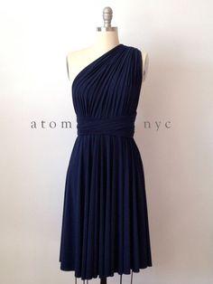 Navy Blue Infinity Dress Convertible Formal Multiway Wrap Dress Bridesmaid Dress Toga Dress Cocktail Dress Evening Dress Short