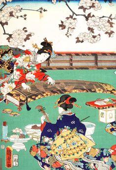 昨日の絵の右半分がこれです。  国貞の源氏絵「春の遊興」です。  箏と後ろ向きの人の糸巻きが4本あるところを見ると、胡弓のようですね。  箏、三絃、胡弓という三曲合奏です。    箏、三絃、尺八というスタイルもありますが、この絵の三曲が本来の形です。