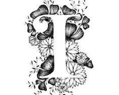 Letter I print - Alphabet, Calligraphy, Typography, Monogram, Flowers - Black and White ink art print