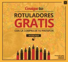 Con la compra de tus láminas #pintafun... ¡consigue unos #rotuladores gratis! Accede a la página web y verás http://www.pintafun.com/