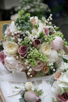 White Lilac, Peonies, Succulents, Lily of the Valley, Wax Flower Blossom, David Austin Garden & Vintage Roses